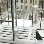 Snow on the fire escape